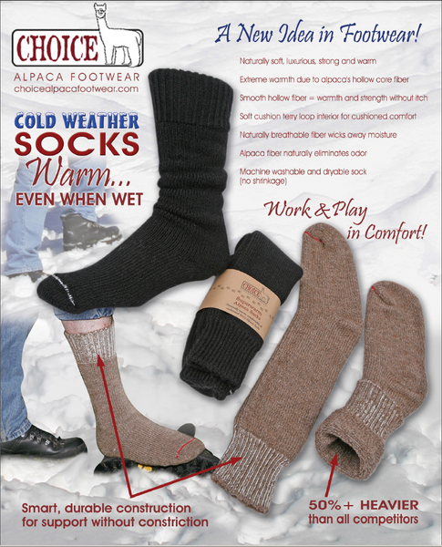 superwarm alpaca socks, warm even when wet!