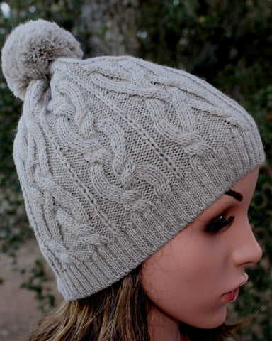 100% Alpaca Pom-Pom Cabled Beanie Hat - Medium Silver - Purely Alpaca