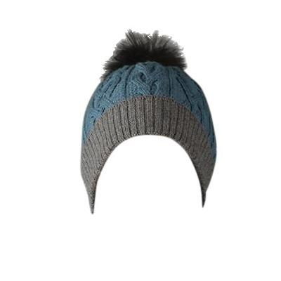 100% Alpaca Pom-Pom Hat - Denim and Grey