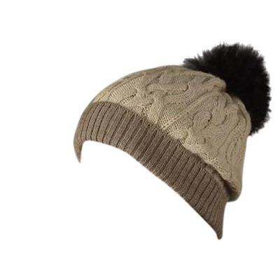 100% Alpaca Pom-Pom Hat - Oatmeal and Light Brown Hat MFH