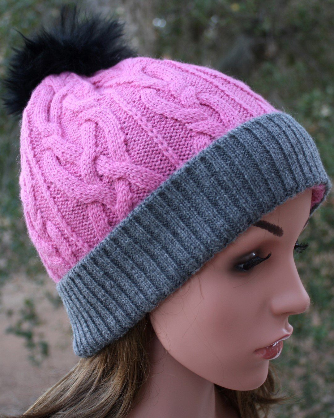 100% Alpaca Pom-Pom Hat - Soft Pink and Grey