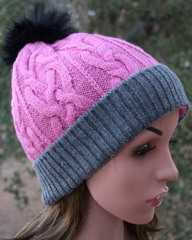 100% Alpaca Pom-Pom Hat - Soft Pink and Grey Hat MFH