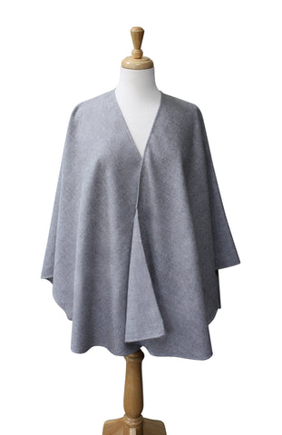 100% Alpaca Solid Elegance Ruana Cape Capes and Wraps PL Silver Grey