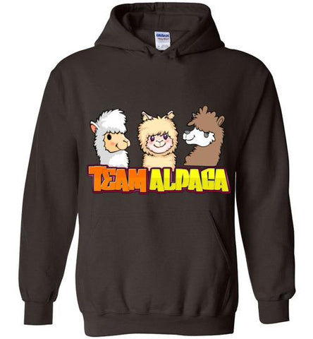 t-shirt: Team Alpaca Gildan Heavy Hoodie FUN Purely Alpaca Dark Chocolate S