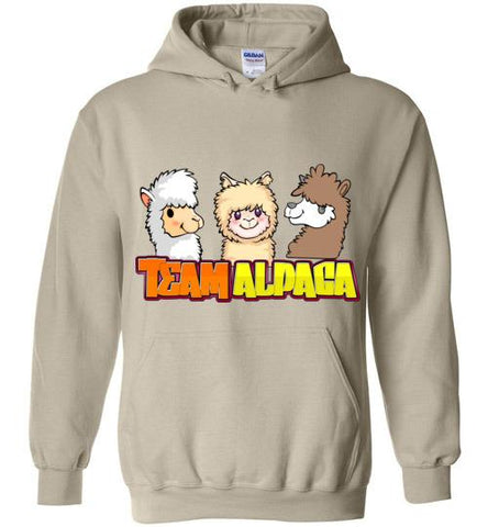 t-shirt: Team Alpaca Gildan Heavy Hoodie FUN Purely Alpaca Sand S