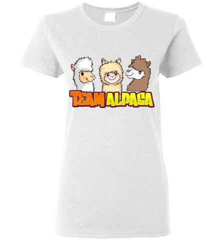t-shirt: Team Alpaca Gildan Ladies Short-Sleve Purely Alpaca White S