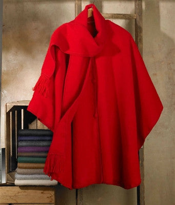 Lined Alpaca Cape with Scarf DropShip PL