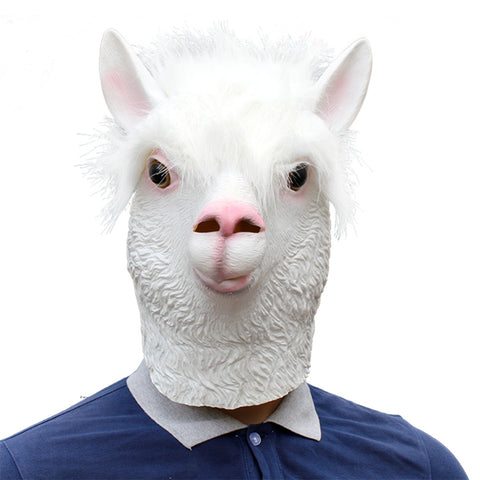 Alpaca Head Latex Party Mask