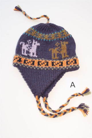 Kids Knit Alpaca Chullo Hat with Ear Flaps