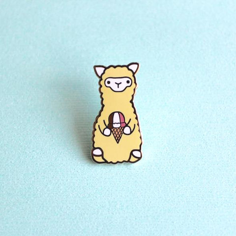 Wild Whimsy Alpaca Ice Cream Pin - Purely Alpaca