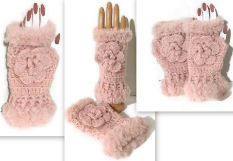 THE PINK ALPACA FINGERLESS GLOVES - Purely Alpaca