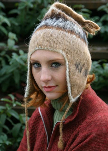 Adult Brushed Knit Alpaca Chullo with Ear Flaps Hat IAT