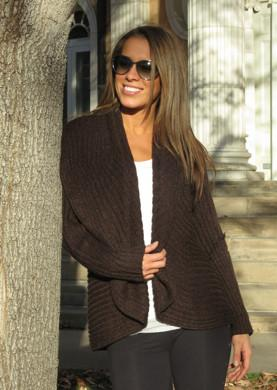 Alpaca Blend Long Open Sweater with Hood Sweater IAT