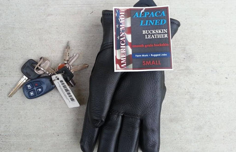 Alpaca Filled Buckskin Leather Gloves - Black - Made in the USA - Purely Alpaca