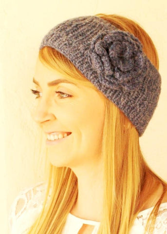 Alpaca Flower Knit Ear Warmer Head Band Hat IAT