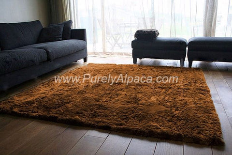 Alpaca Fur Rugs - Rectangular - Huacaya DropShip INCT Small Brown