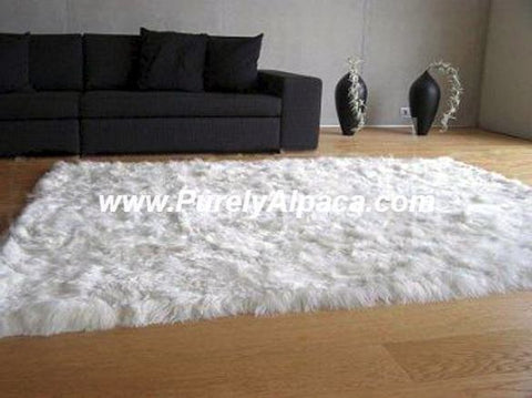 Alpaca Fur Rugs - Rectangular - Suri DropShip INCT Small White