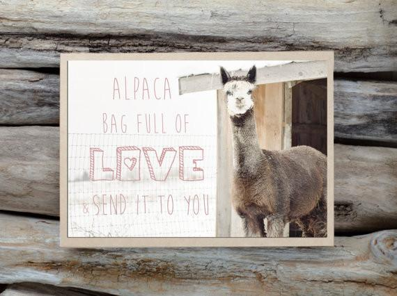 Alpaca Greeting Card - Alpaca Bag Full of Love & Send it to You