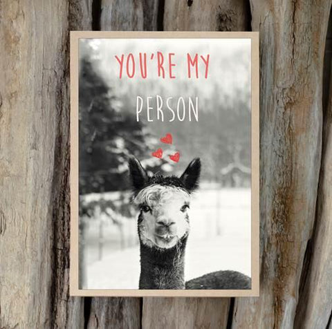 Alpaca Greeting Card - You're My Person - Purely Alpaca