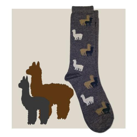 Alpaca Herd Fun Socks Socks RM Small Grey