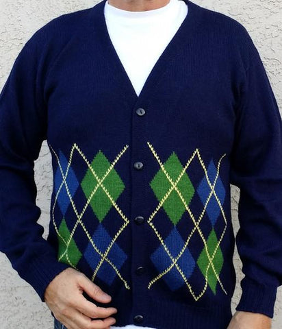 Argyle Golf Alpaca Cardigan Sweater WZT
