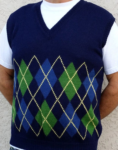 Argyle Golf Alpaca Vest Vest WZT Medium Navy