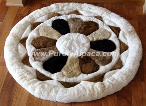 Baby Alpaca Fur Rugs - Flower DropShip INCT Small