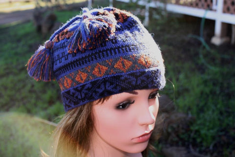 Blue-purple Geo Alpaca Cap - Purely Alpaca