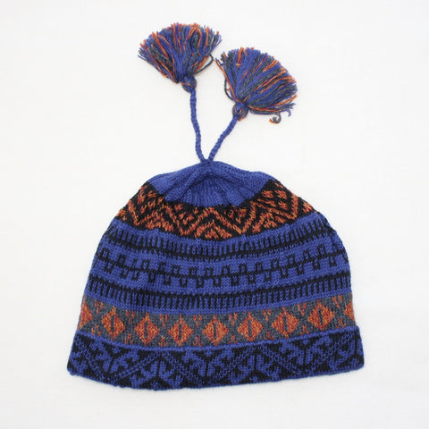Blue-purple Geo Alpaca Cap Hat PL
