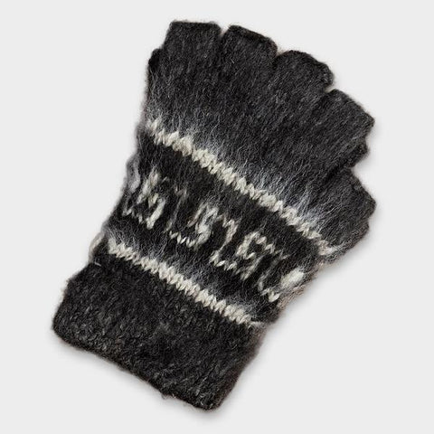 Bolivian Brushed Pattern Fingerless Alpaca Gloves Glove IAT Charcoal Grey