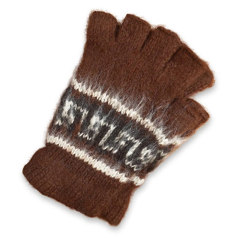 Bolivian Brushed Pattern Fingerless Alpaca Gloves Glove IAT Dark Brown