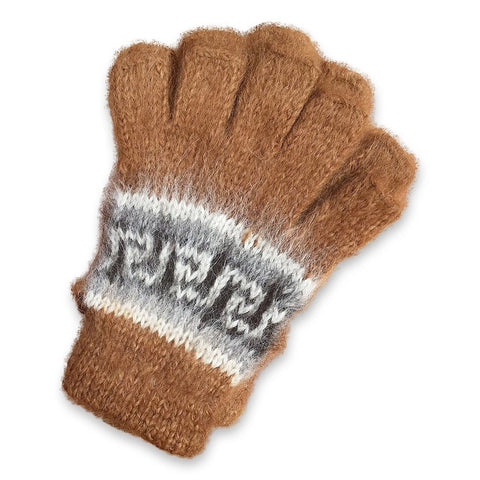 Bolivian Brushed Pattern Fingerless Alpaca Gloves Glove IAT Medium Brown