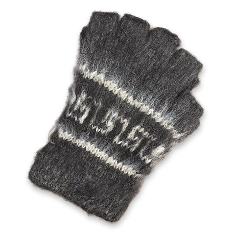 Bolivian Brushed Pattern Fingerless Alpaca Gloves Glove IAT Medium Grey