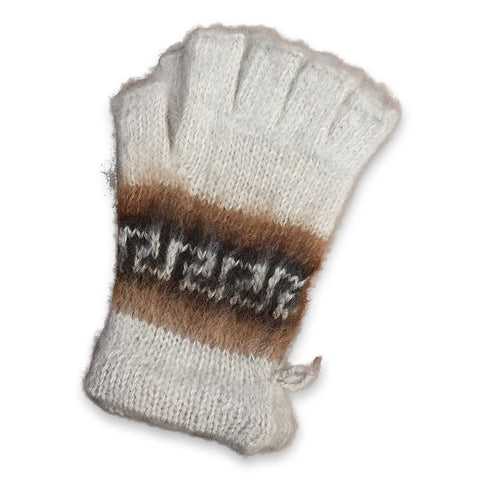 Bolivian Brushed Pattern Fingerless Alpaca Gloves Glove IAT White
