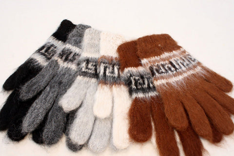 Bolivian Brushed Pattern Full Fingered Alpaca Gloves Glove IAT