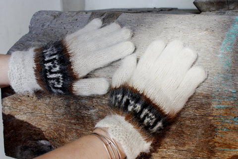 Bolivian Brushed Pattern Full Fingered Alpaca Gloves - Purely Alpaca