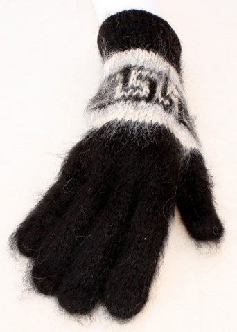Bolivian Brushed Pattern Full Fingered Alpaca Gloves Glove IAT Black