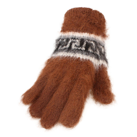 Bolivian Brushed Pattern Full Fingered Alpaca Gloves Glove IAT Dark Brown