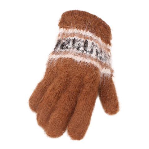 Bolivian Brushed Pattern Full Fingered Alpaca Gloves Glove IAT Medium Brown