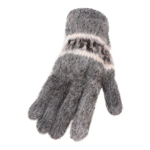 Bolivian Brushed Pattern Full Fingered Alpaca Gloves Glove IAT Medium Grey