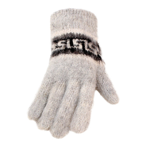 Bolivian Brushed Pattern Full Fingered Alpaca Gloves Glove IAT Silver Grey