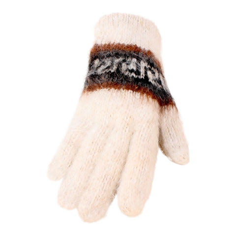 Bolivian Brushed Pattern Full Fingered Alpaca Gloves Glove IAT White