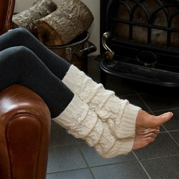 Brushed Cable Leg Warmers - Purely Alpaca