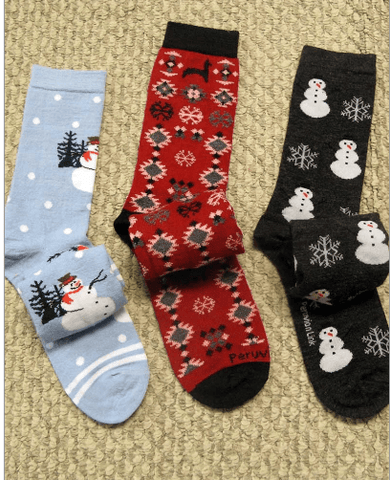 Christmas Alpaca Sock Socks PL LG/XL Red w Snowflakes