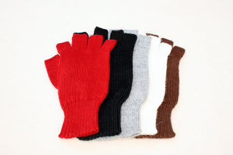 Colorful Alpaca Blend Fingerless Knit Alpaca Gloves Glove TO Off White