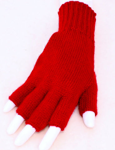 Colorful Alpaca Blend Fingerless Knit Alpaca Gloves Glove TO Red