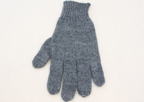 Colorful Alpaca Blend Full Fingered Knit Alpaca Gloves Glove TO Medium Grey