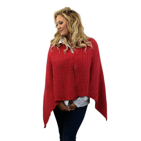 Convertible Alpaca Shawl Capes and Wraps NEAFP Scarlet Red