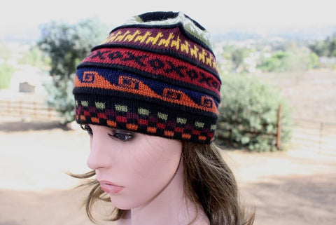 Deluxe Channel Alpaca Knit Beanie with Alpacas Hat TU Style B