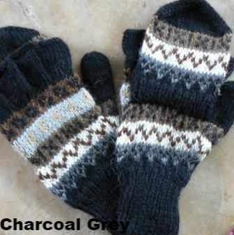 "Deluxe Hand Knit Hooded Alpaca Gloves (""Glittens"") - Purely Alpaca"